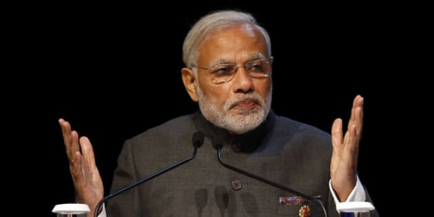 Indian Prime Minister Narendra Modi speaks at the Association of Southeast Asian Nations (ASEAN) Business and Investment Summit in Kuala Lumpur, Malaysia, Saturday, Nov. 21, 2015. (AP Photo/Lai Seng Sin)