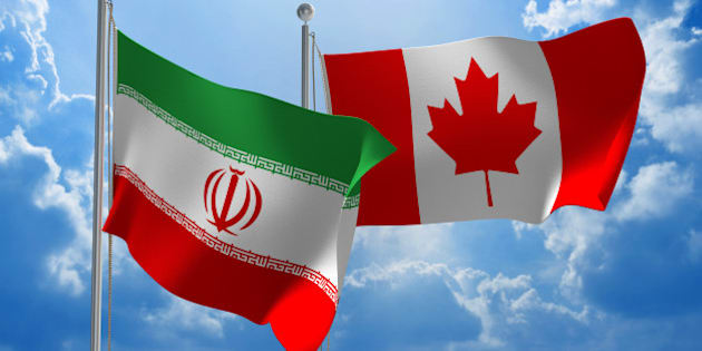 Flags from Iran and Canada flying side by side for important talks.