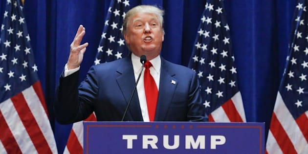 Real estate mogul Donald Trump announces his bid for the presidency in the 2016 presidential race during an event at the Trump Tower on the Fifth Avenue in New York City on June 16, 2015. Trump, one of America's most flamboyant and outspoken billionaires, threw his hat into the race Tuesday for the White House, promising to make America great again. The 69-year-old long-shot candidate ridiculed the country's current crop of politicians and vowed to take on the growing might of China in a speech launching his run for the presidency in 2016. 'I am officially running for president of the United States and we are going to make our country great again,' he said from a podium bedecked in US flags at Trump Tower on New York's Fifth Avenue. The tycoon strode onto the stage after sailing down an escalator to the strains of 'Rockin' In The Free World' by Canadian singer Neil Young after being introduced by daughter Ivanka. His announcement follows years of speculation that the man known to millions as the bouffant-haired host of American reality TV game show 'The Apprentice' would one day enter politics. Trump identifies himself as a Republican, and has supported Republican candidates in the past. But in his announcement speech he did not explicitly say if he was running for the party's nomination or as an independent.AFP PHOTO/ KENA BETANCUR        (Photo credit should read KENA BETANCUR/AFP/Getty Images)