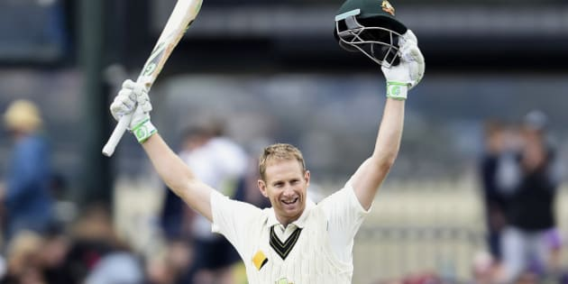 Australia's Adam Voges celebrates getting his double century against the West Indies during their cricket test match in Hobart, Australia, Friday Dec. 11, 2015. (AP Photo/Andy Brownbill).