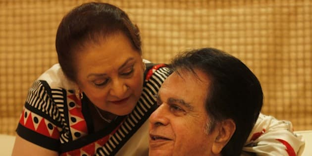 MUMBAI, INDIA - DECEMBER 7: Legendary Bollywood actors Dilip Kumar with his wife Saira Banu at his residence Bandra on December 7, 2012 in Mumbai, India. Both the actors were married in 1966. (Photo by Vijayanand Gupta/Hindustan Times via Getty Images)