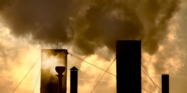 smoke steam pollution global warming stacks chimney tower and sky