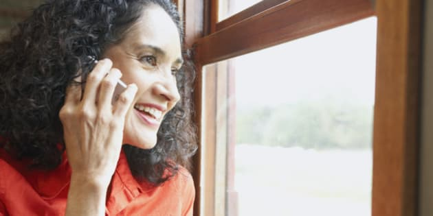 Woman Phoning From a Train