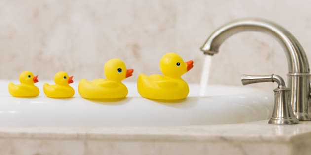 Rubber duckies and bath tub