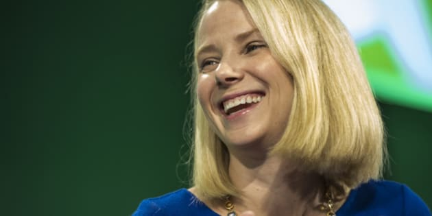 Marissa Mayer, president and chief executive officer at Yahoo! Inc., laughs during the 2015 Bloomberg Technology Conference in San Francisco, California, U.S., on Tuesday, June 16, 2015. Mayer said that the company's spinoff of its stake in Alibaba Group Holding Ltd. is proceeding as planned. Photographer: David Paul Morris/Bloomberg via Getty Images