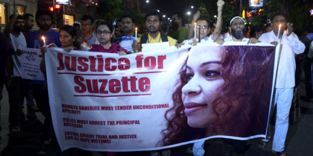 KOLKATA, INDIA - 2015/03/17: Social activist rallied from Asiatic Society to Park Street Police station demanding justice for Park Street rape victim Suzette Jordan. She died on 13 March, 2015 at the age of 40, of meningoencephalitis. (Photo by Pacific Press/Pacific Press/LightRocket via Getty Images)