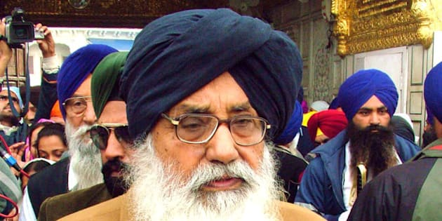 FILE - In this March 3, 2007 file photo, Parkash Singh Badal, chief minister of the Indian state of Punjab, pays obeisance at the Golden Temple in Amritsar, India. Badal is expected to visit Wisconsin for a July 6, 2013, wedding and a Sikh group accusing him of human-rights violations has doubled its reward to $20,000 to anyone who serves him with a federal summons while he's here. (AP Photo/Deepak Sharma, File)