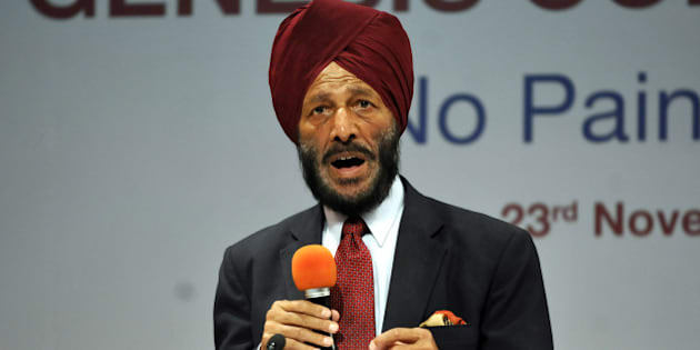 """NOIDA , INDIA  NOVEMBER 23: The Flying Sikh Milkha Singh, former Indian track and field sprinter was in town to inaugurate Genesis Champions Golf Centre in Noida, India. During the event Milkha Singh said """"I am very happy that the doors have opened for sportspersons. But I think the first Bharat Ratna should have been given to Dhyan Chand because of what he has achieved."""" (Photo by Sunil Ghosh/Hindustan Times via Getty Images)"""