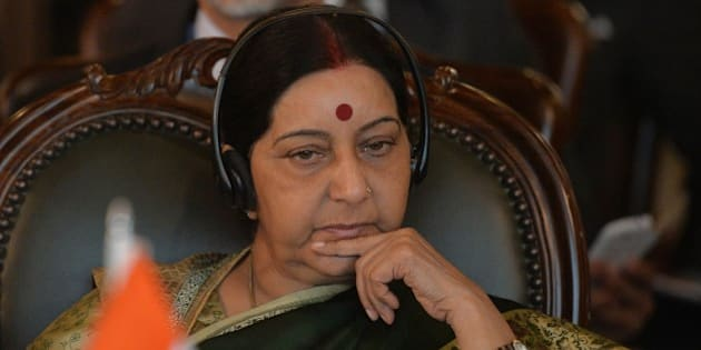 ISLAMABAD, PAKISTAN - DECEMBER 09: Indian Foreign Minister Sushma Swaraj attends the 5th Heart of Asia-Istanbul Process Ministerial Conference in Islamabad, Pakistan on December 09, 2015. (Photo by AFP /POOL/AAMIR QURESHI/Anadolu Agency/Getty Images)