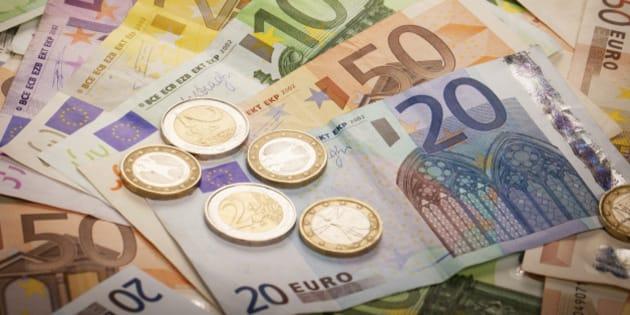 Pile of Euros: 1, 2, 20, 50, 100, 200 and 500 euro