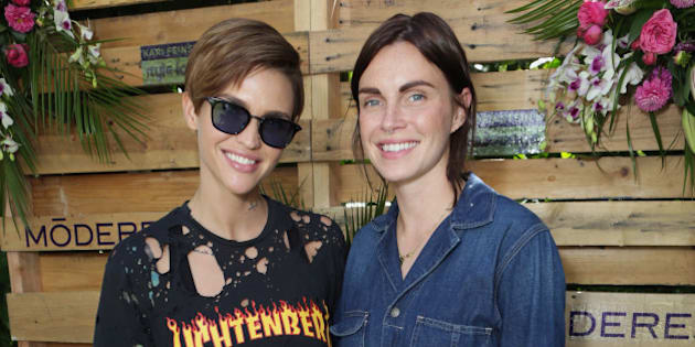 WEST HOLLYWOOD, CA - SEPTEMBER 17:  Actress Ruby Rose (L) and designer Phoebe Dahl attend Kari Feinstein's Style Lounge at Sunset Marquis Hotel & Villas on September 17, 2015 in West Hollywood, California.  (Photo by Rebecca Sapp/WireImage)