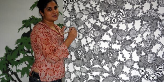 INDIA - AUGUST 30:  Hema Upadhyay, Artist at her Studio in Mumbai, Maharashtra, India ( for IT Woman Magazine )  (Photo by Mandar Deodhar/The India Today Group/Getty Images)