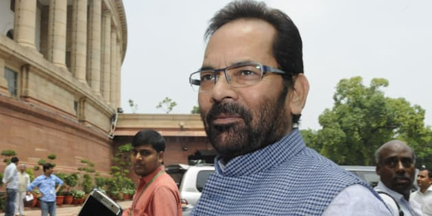NEW DELHI, INDIA - AUGUST 10: Minister of State for Parliamentary Affairs Mukhtar Abbas Naqvi at Parliament during the monsoon session on August 10, 2015 in New Delhi, India. The government will tomorrow bring the much-awaited bill on GST for passage in the Rajya Sabha even as doubts persist if the opposition Congress will allow passage of the Constitution Amendment Bill. (Photo by Sonu Mehta/Hindustan Times via Getty Images)