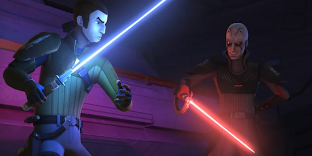 STAR WARS REBELS - 'Gathering Forces' - With the Inquisitor hot on the Ghost's tail, Kanan, Ezra split off from aboard the Phantom to draw the Inquisitor away from the spy Tseebo. Luring the Imperials to the abandoned asteroid base and its carnivorous creatures, Kanan is still forced into a lightsaber duel with the Inquisitor. Ezra uses his growing abilities with the Force to unleash the native creatures on the Inquisitor, allowing the Phantom to flee. Hera and the rest of the crew help the spy escape. This episode of 'Star Wars Rebels' airs Monday, November 24 on Disney XD. (Disney XD via Getty Images)