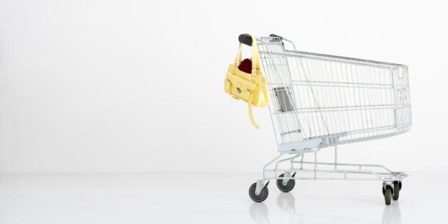 Shopping trolley with a handbag