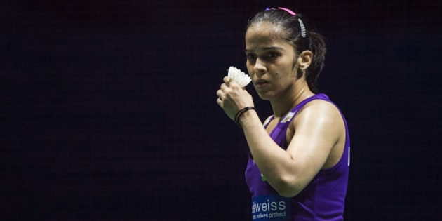 DUBAI, UNITED ARAB EMIRATES - DECEMBER 11:  Saina Nehwal of India reacts in the Women,s Singles match agianst Tai Tzu Ying of Chinese Taipei during day three of the BWF Dubai World Superseries 2015 Finals at the Hamdan Sports Complex on on December 11, 2015 in Dubai, United Arab Emirates.  (Photo by Gonzalo Arroyo Moreno/Getty Images for Falcon)