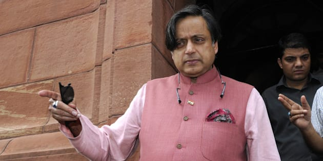 NEW DELHI, INDIA - JULY 30: Congress MP from Thiruvananthapuram Shashi Tharoor leaves after attending the Monsoon Session at the Parliament House on July 30, 2015 in New Delhi, India. The Lok Sabha was adjourned for the day as a mark of respect to former President APJ Abdul Kalam, while the Rajya Sabha was adjourned till 2 pm. (Photo by Sonu Mehta/Hindustan Times via Getty Images)