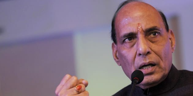 NEW DELHI, INDIA - NOVEMBER 28: Union Minister of Home Affairs Rajnath Singh during an inauguration of the 110th Annual Session of PHD Chamber of Commerce and Industry on November 28, 2015 in New Delhi, India. Singh said that the country cannot develop until it is secure, thus security is the first condition for development. He also emphasized upon the spiritual development along with economic development for the comprehensive development of personality of an individual. (Photo by Saumya Khandelwal/Hindustan Times via Getty Images)