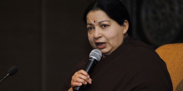 Tamil Nadu state Chief Minister Jayaram Jayalalitha addresses a press conference in New Delhi, India, Tuesday, June 14, 2011. Jayalalitha is on her first visit to the capital after becoming the top elected official of the southern state. (AP Photo/Saurabh Das)