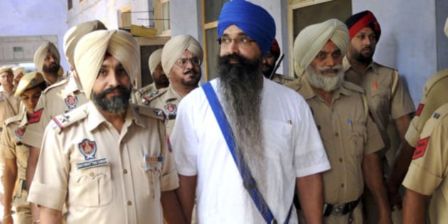 PATIALA, INDIA - SEPTEMBER 21: Balwant Singh Rajoana, who is facing death penalty for assassination of former Punjab Chief Minister Beant Singh, coming out of Government Rajindra Hospital on September 21, 2015 in Patiala, India. Rajoana was waiting the President to decide over his mercy petition pending in his office since 2012. After his death warrants were issued by a Chandigarh Court on March 13, 2012, both Shiromani Gurudwara Prabandhak Committee (SGPC) and Delhi Sikh Gurudwara Management Committee (DSGMC) had filed mercy petition for Rajoana. (Photo by Bharat Bhushan/Hindustan Times via Getty Images)