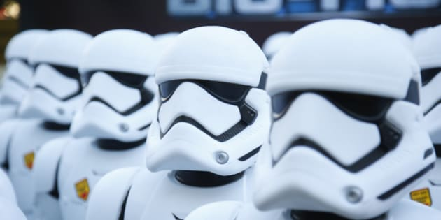 Over 100 JAKKS BIG-FIGS Stormtrooper action figures are seen as a part of an installation at The Americana at Brand for the opening of Star Wars: The Force Awakens, Thursday, Dec. 17, 2015, in Glendale, Calif. The new BIG-FIGS Stormtroopers, inspired by the latest Star Wars movie, are available now at all major retailers. (Photo by Danny Moloshok/Invision for JAKKS/AP Images)