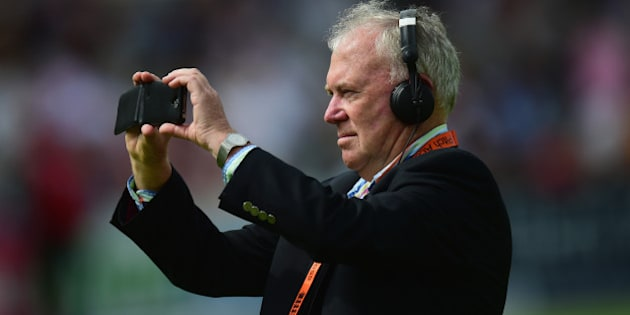 LONDON, ENGLAND - JULY 17:  Radio commentator Jim Maxwell before day two of the 2nd Investec Ashes Test match between England and Australia at Lord's Cricket Ground on July 17, 2015 in London, United Kingdom.