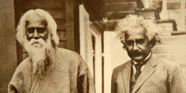 Bangladesh, Kushtia, picture of Einstein and Rabindranath Tagore
