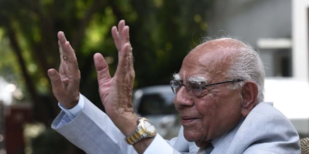 NEW DELHI, INDIA - AUGUST 23: Senior lawyer and BJP MP Ram Jethmalani addresses during a press conference, criticized the leaders from the government as well as other political parties, for referring to the Kashmir based groups leaders as separatists, at his residence on August 23, 2015 in New Delhi, India. Jethmalani said that it was gross misunderstanding to call Hurriyat leaders as separatists. In a sharp attack on the ruling government for not allowing the Pakistan High Commissioner to India to engage in talks with Hurriyat leader Syed Ali Shah Geelani. (Photo by Vipin Kumar/Hindustan Times via Getty Images)