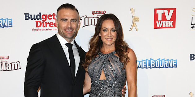 MELBOURNE, AUSTRALIA - MAY 03:  Steve Willis aka The Commando and Michelle Bridges arrive at the 57th Annual Logie Awards at Crown Palladium on May 3, 2015 in Melbourne, Australia.  (Photo by Graham Denholm/WireImage)
