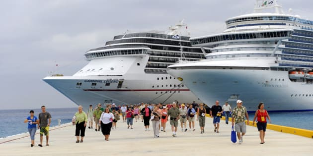 Passengers disembarking Caribbean cruise ship in Puerta Maya and Cozumel, Mexico