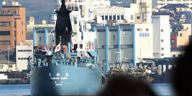 A Japanese whaling ship leaves the port of Shimonoseki in Yamaguchi prefecture, western Japan on December 1, 2015, to resume whale hunting in the Antarctic. A Japanese whaling fleet set sail for the Antarctic Ocean, intending to resume culls after a one-year pause, with environmentalists slamming the mission as a 'crime against nature'. Japan has hunted whales for centuries and their meat was once a key source of protein for the population, but consumption has dramatically declined as the country grew into one of the world's wealthiest economies. AFP PHOTO / JIJI PRESS JAPAN OUT / AFP / JIJI PRESS / JIJI PRESS        (Photo credit should read JIJI PRESS/AFP/Getty Images)