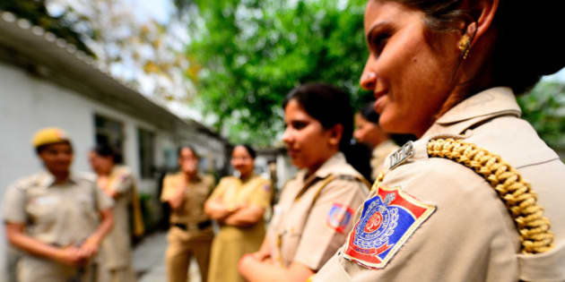 NEW DELHI, INDIA - MARCH 27: Women police on duty at Maurice Nagar, Police Station, near Delhi University, on March 27, 2014 in New Delhi, India. (Photo by Priyanka Parashar/Mint via Getty Images)