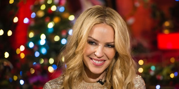 LONDON, ENGLAND - DECEMBER 04:  Kylie Minogue during a live broadcast of 'TFI Friday' on December 4, 2015 in London, England.  (Photo by Jeff Spicer/Getty Images)