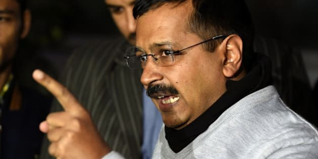 Delhi Chief Minister Arvind Kejriwal gestures as he addresses the media in New Delhi on December 15, 2015. Delhi's Chief Minister Arvind Kejriwal accused Indian Prime Minister Narendra Modi of waging a 'psychopathic' political vendetta after federal investigators raided his administration's headquarters on December 15.  AFP PHOTO / PRAKASH SINGH / AFP / PRAKASH SINGH        (Photo credit should read PRAKASH SINGH/AFP/Getty Images)