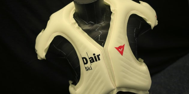 Italian safety equipment manufacturer Dainese presents the 'D Air SKI airbag' protection vest during a press conference in Kitzbuehel, Austria on January 23, 2014.  Alpine skiing's governing body, the FIS, is hoping to introduce the airbags in a bid to increase safety in a sport that enjoys its fair share of high-speed crashes. But racers will not be kitted out with airbags for next month's Sochi Olympics as testing continues into the latest prototype presented by Italian company Dainese. AFP PHOTO / ALEXANDER KLEIN        (Photo credit should read ALEXANDER KLEIN/AFP/Getty Images)
