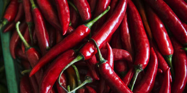 Spicy red chili peppers for sale at the Central Market in Phnom Penh, Cambodia, Southeast Asia.