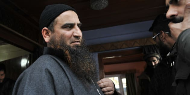 SRINAGAR, INDIA - MARCH 9: Kashmiri separatist leader Masarat Alam at his home on March 9, 2015 in Srinagar, India. Alam is the chairman of Muslim League, a constituent of hard-line Hurriyat Conference led by Syed Ali Shah Geelani. He was arrested during the 2010 unrest in the Kashmir Valley for allegedly inciting youth, was released by the newly-installed PDP-BJP coalition government on Saturday. Masarats release has drawn a lot of criticism from several political parties including the coalition partner BJP. (Photo by Waseem Andrabi/Hindustan Times via Getty Images)