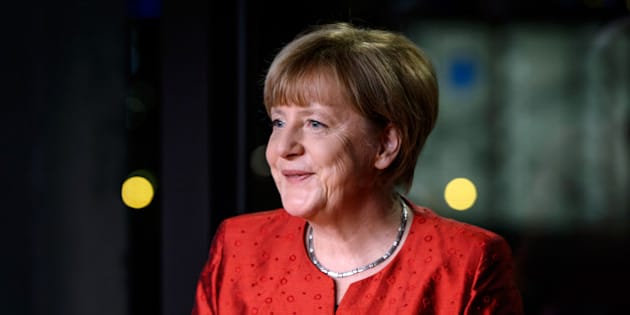 BERLIN, GERMANY - DECEMBER 30: German Chancellor Angela Merkel records her televised new year's address at the Chancellery on December 30, 2015 in Berlin, Germany. Integration of the over one million migrants and refugees who came to Germany in 2015 will be among Germany's biggest challenges in 2016. Other major issues will include the fight against Islamist terror both at home and through Germany's participation in the coalition-led war against the Islamic State.  (Photo by Ukas Michael - Pool/Getty Images)