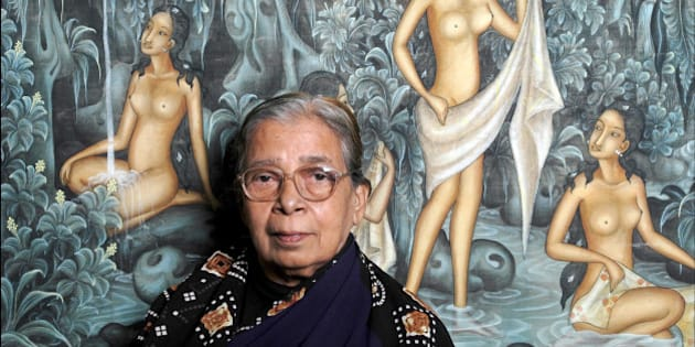 PARIS, FRANCE - NOVEMBER 19: Indian writer Mahasweta Devi poses during a portrait session held on November 19, 2002 in Paris, France. (Photo by Ulf Andersen/Getty Images)