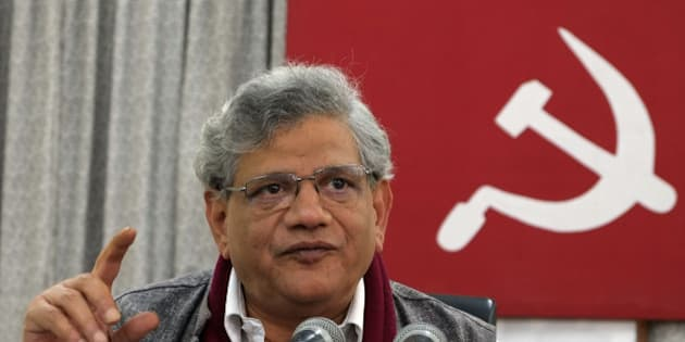 KOLKATA, INDIA - DECEMBER 26: CPI (M) Party General Secretary Sitaram Yechury addressing a press conference on December 26, 2015 in Kolkata, India. Months before the crucial assembly polls in its erstwhile citadels West Bengal and Kerala, the CPI-M begins a five-day plenum here to streamline and strengthen the party organisation. (Photo by Subhendu Ghosh/Hindustan Times via Getty Images)