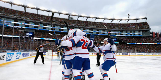 FOXBORO, MA - JANUARY 01:  David Desharnais #51 of the Montreal Canadiens celebrates a goal with his teammates during the first period of the 2016 Bridgestone NHL Classic at Gillette Stadium on January 1, 2016 in Foxboro, Massachusetts.  (Photo by Dave Sandford/NHLI via Getty Images)