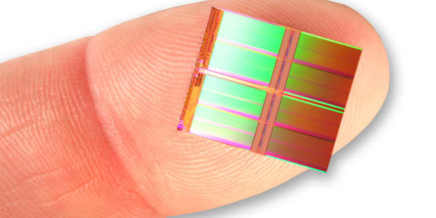 /World's highest capacity NAND flash memory die--New 20nm NAND from Intel and Micron provides unprecedented storage density. The industry's first monolithic 128 gigabit (Gb) part can store 1 terabit of data in a single fingertip-size package with just eight die-a new storage benchmark that meets the ongoing demand for slim, sleek products. (GLOBE NEWSWIRE)/