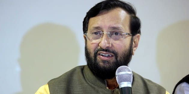 INDORE, INDIA - JANUARY 3: Union minister for environment and forests Prakash Javadekar addressing a press conference at city Hotel on January 3, 2015 in Indore, India. 'Instead of serving people, the opposition is creating hurdles in the way of country's development.' Javadekar alleged. (Photo by Shankar Mourya/Hindustan Times via Getty Images)
