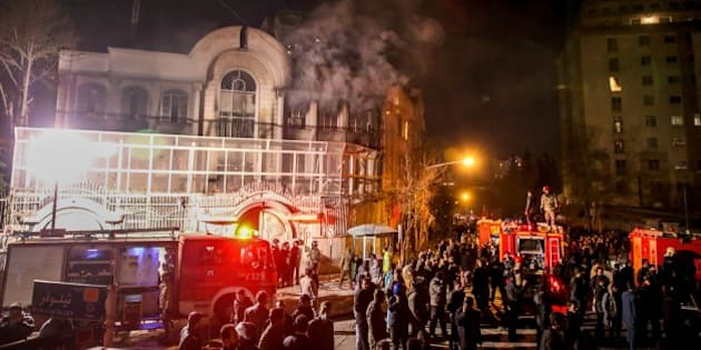 Iranian protesters set fire to the Saudi Embassy in Tehran during a demonstration against the execution of prominent Shiite Muslim cleric Nimr al-Nimr by Saudi authorities, on January 2, 2016. Nimr was a driving force of the protests that broke out in 2011 in Saudi Arabia's east, an oil-rich region where the Shiite minority of an estimated two million people complains of marginalisation.  AFP PHOTO /  ISNA / MOHAMMADREZA NADIMI / AFP / ISNA / MOHAMMADREZA NADIMI        (Photo credit should read MOHAMMADREZA NADIMI/AFP/Getty Images)