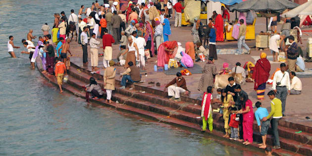 The amazing colour and intensity of pilgrims bathing in the holy Ganga at the Har-ki-Pairi ghats in Haridwar. 