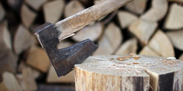 Old axe for chopping wood on wooden stump and chopped wood in the background.