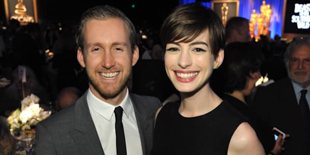 "Anne Hathaway, right, nominee for actress in a supporting role for ""Les Miserables,"" and Adam Shulman attend the 85th Academy Awards Nominees Luncheon at the Beverly Hilton Hotel on Monday, Feb. 4, 2013, in Beverly Hills, Calif. (Photo by John Shearer/Invision/AP)"