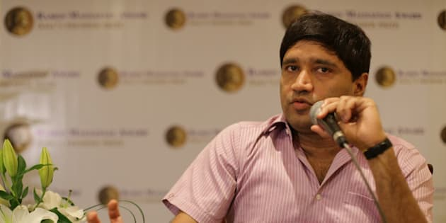 Ramon Magsaysay awardee Indian Sanjiv Chaturvedi, an anti-corruption campaigner, gestures as he answers questions from reporters at the Ramon Magsaysay Center in Manila, Philippines on Thursday, Aug. 27, 2015. Chaturvedi and a fellow countryman who recycle clothes for the poor are among this year's recipients of the Philippines' Ramon Magsaysay Award, often regarded as Asia's equivalent of the Nobel Prize. (AP Photo/Aaron Favila)