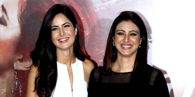 Indian Bollywood actresses Katrina Kaif (L) and Tabu attend the trailer launch of their upcoming Hindi film 'Fitoor'  in Mumbai on January 4, 2016. AFP PHOTO / AFP / STR        (Photo credit should read STR/AFP/Getty Images)