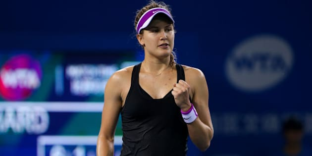 SHENZHEN, CHINA - JANUARY 05:  (CHINA OUT) Eugenie Bouchard of Canada celebrates a point against Donna Vekic of England during Day three of 2016 WTA Shenzhen Open at Longgang Sports Center on January 5, 2016 in Shenzhen, Guangdong Province of China.  (Photo by ChinaFotoPress/ChinaFotoPress via Getty Images)